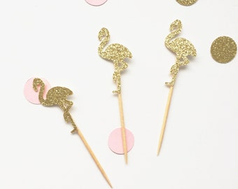 Flamingo cupcake toppers pack of 12 -available in your choice of colours