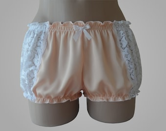 Peach Silk Bloomers with White Lace Inserts - Handmade
