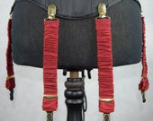 Detachable Silk Covered Suspenders  Crimson and Gold (Set of 6)