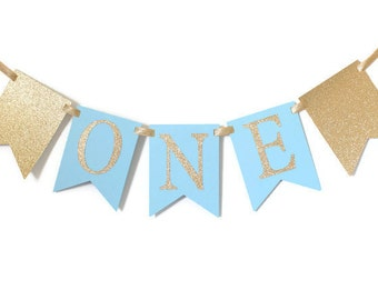 Gold & Blue ONE High Chair Banner Happy Birthday Banner/ Boy Birthday/ Prince Party/ Child Birthday/ Party Decorations/ 1st birthday