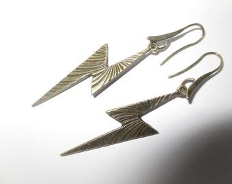 Bronze Lightening Bolt earrings