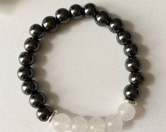 Hematite and White Jade - 8mm Semi Precious Stones Bracelet