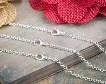 10 Silver Plated Necklaces / SOLDERED 2.5mm ROLO / Lobster Clasp / 18 20 22 24 Inch / Charm Bracelet Chain / Jewelry DIY bulk / ZF352-10