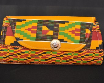 Large African Print Clutch Purse