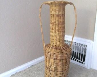 Tall Wicker Vase/Urn