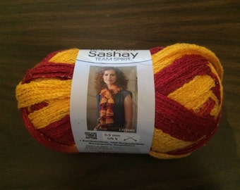 CLEARANCE SALE ~ Red Heart Boutique Sashay Yarn - Team Spirit Burgundy & Gold