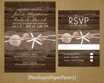 Destination Beach Wedding Invitations,Sea Shells,Star Fish,Nautical,Ocean,Rustic Wood Background,Simple,Opt RSVP,Customizable with Envelopes