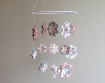 Flower Mobile- home decor, kids, hanging mobile, gray and pink, nursery, bedding, baby mobile, nursery decor