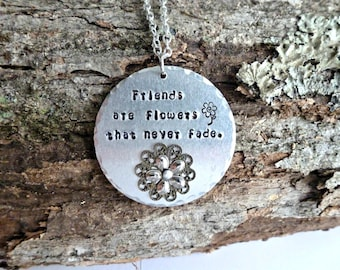 Friend Gifts Friend Jewelry Friend Necklace Hand Stamped Jewelry