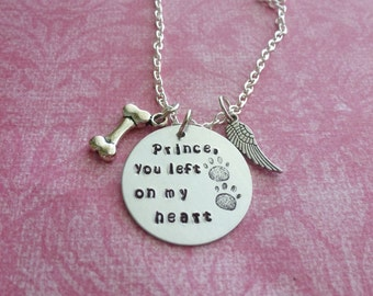 Pet Memorial Jewelry You Left Paw Prints On My Heart Pet Memorial Gifts Hand Stamped Necklace