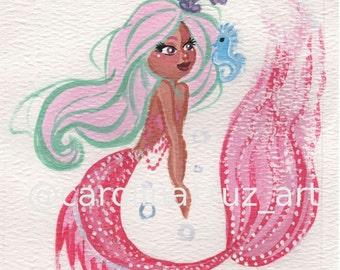 Mermaid Rouses gouache painting, Fine Arte Print!