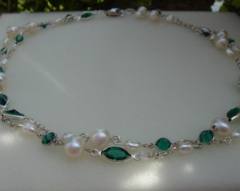 Multiple-row Pearl Necklace with silver and Crystal