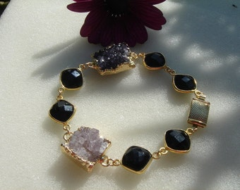 Bracelet with Amethyst Druze and Onyx at 595-er silver!