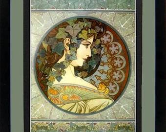 """Mucha Poster """"La Lierre"""" Art Nouveau Framed Art Nuveau Print 23x18"""