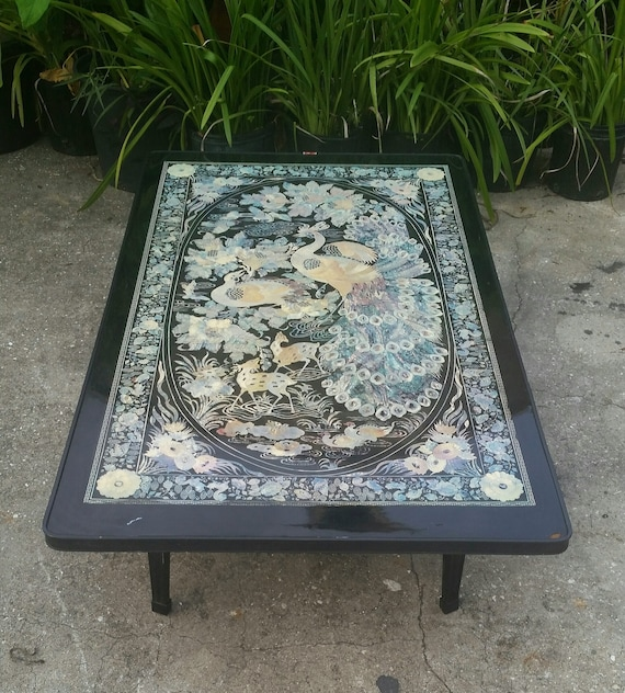Vintage asian folding table black elaborate peacock designs for Peacock coffee table
