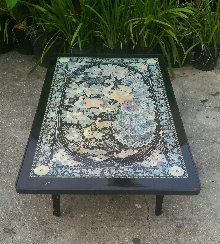 Vintage Asian Folding Table Black Elaborate Peacock Designs