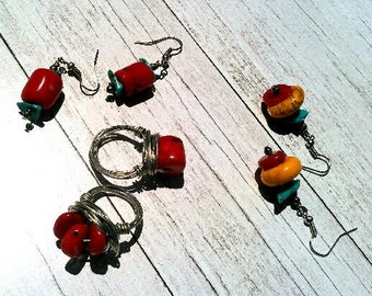 Southwestern Style Red Coral Wire Wrapped Ring Sz. 6
