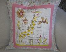 Hand Quilted Cushion Cover. Giraffe Nursery Cushion, Giraffe Print Cotton Cushion. Hand Quilted Patchwork Cushion. Nursery. Baby Shower.