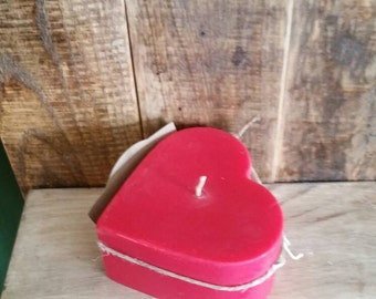 Red Hot Cinnamon Scented Heart Shaped Pillar Candle