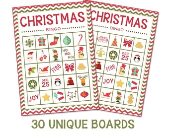 Instant Download-Christmas Bingo + Memory Game (30 Boards)