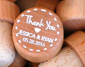 Wedding Favors, Personalized Wooden Wine Stopper, Rustic Wedding, ANY QUANTITY, Custom Wine Stopper, Vineyard Wedding