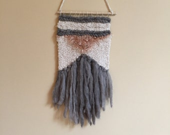 SALE//Hand Woven Wall Hanging / Tapestry / Weaving // Cream/Pink/Grey