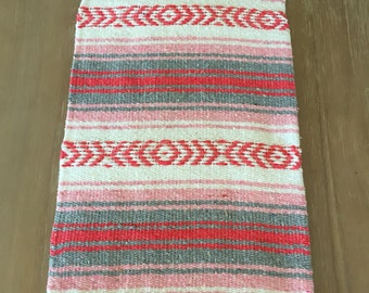 Mexican Table Runner, Pink Falsa Blanket, Boho Chic Decor, Rustic Wedding,  Great