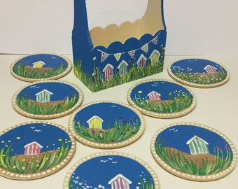 SALE - Hand painted coasters x 8 with matching container. Beach huts design. Free UK delivery.