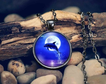 Dolphin Pendant Necklace Ocean Life Dolphins Jumping Dolphin