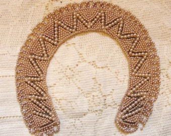 Vintage 1940's-50's Faux Pearl Collar with Loopy Fringe