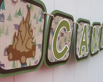 Camping Themed Birthday Banner