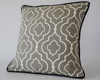 24x24 pillow cover gray, gray moroccan pillow cover, decorative pillow cover, gray throw pillow, cushion cover, decorative pillows with trim