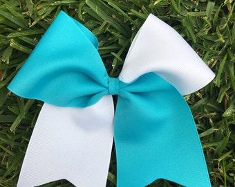 Half White and Custom Color Softball Bows/ Cheer Bows/ Soccer Bows