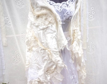 Shabby chic quilted silk and lace wedding shawl, boho shawl