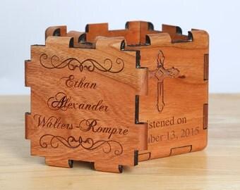 Custom Designed Baptism - Christening - Dedication Keepsake Box - Natural Wood with personalization
