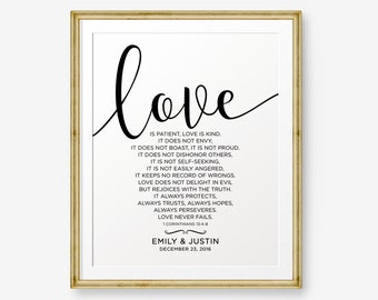SALE Personalized Wedding Gift,Love is patient, Love is kind, 1 Corinthians 13:4-8, Engagement Gift, Bride and Groom Gift