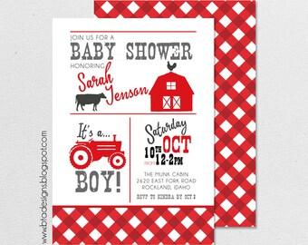 Farm Baby Shower Invitation 1, Customized, Digital File