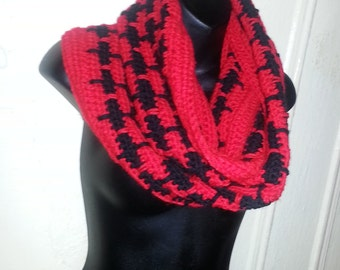 HANDMADE CROCHET Red/Black Infinity Scarf, Unique Spike style.