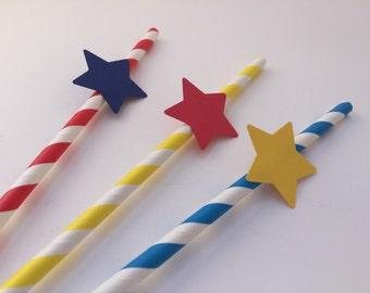 Paper Straws: 10 Superhero Paper Straws, Superhero Party Straws