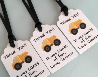 Construction Party Favor Personalized Tag