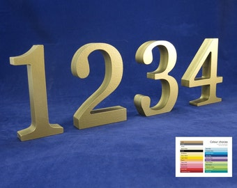 "15cm/6"" Table Numbers 25 colour options wooden free standing for weddings celebrations parties and special events"