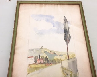 Tuscan watercolor framed