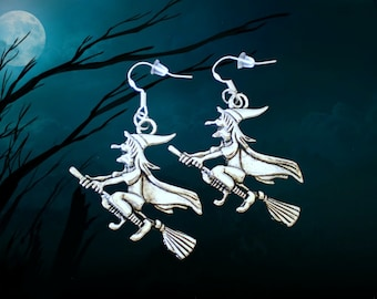 50% SALE Witch Earrings..Wicked Witch Costume..Witch Jewelry..Halloween Earrings..Halloween Jewelry..925 Sterling Silver Wire..FREE SHIPPING