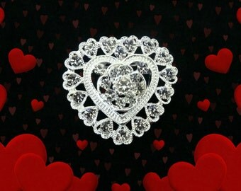 50% SALE Heart Pin.Rhinestone Heart Brooch. Valentines Day Jewelry. Valentines Gift. Valentines Day Gift For Her.Heart Jewelry.GIFTS UNDER 5