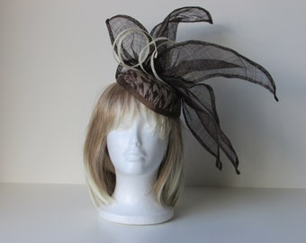 Brown and creme Fascinator, Abaca base with Sinamay embellishment