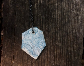 Turquoise Lace Stamped Hexagon Pedant with Oxidized Sterling Silver Chain