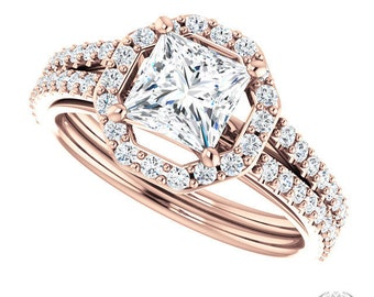 Princess Cut Rose Gold Halo Engagement Ring - 1.58ctw Princess Cut Forever Brilliant Moissanite and Diamonds