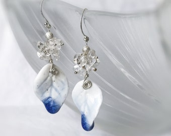 Ceramic drops and clear crystal earrings handmade with sterling silver chain and silver wire