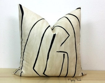 Kelly Wearstler Graffito Pillow Cover - Linen/Onyx - Black on Natural - Choose 1 SIDED OR 2 SIDED - Urban Chic  -  Designer - In Stock