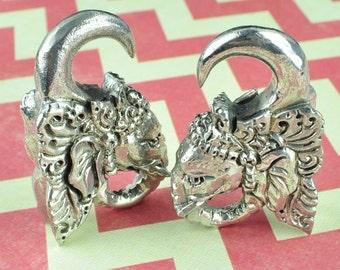 Elephant With Headdress White Brass Weight Hangers BS-300-QEW009